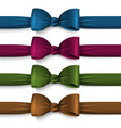 collection dark colors silk bows with ribbons vector image vector image