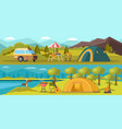 colorful camping horizontal banners vector image vector image