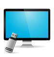computer display with flash drive vector image vector image