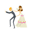 couple of newlyweds bride manipulating her groom vector image vector image
