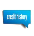 Credit history blue 3d speech bubble