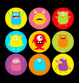 cute monster round icon set happy halloween vector image