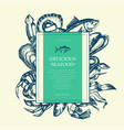delicious seafood - modern drawn square postcard vector image vector image