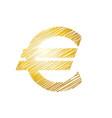 euro sign sketch golden color on white background vector image