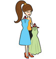 fashion girl choosing dress vector image
