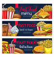 fast food banners for restaurant vector image vector image