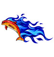 flaming dolphin design art vector image vector image