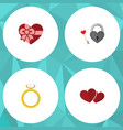 flat icon heart set of key present soul and vector image vector image