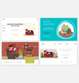 flat online education websites set vector image