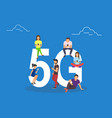 flat people with gadgets sitting on the big 5g vector image vector image