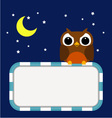 Frame with owl moon and stars vector image vector image