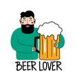 funny bearded man with big glass beer beer vector image vector image