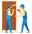 furniture assembly repairman drilling vector image