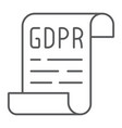 gdpr policy thin line icon privacy and protect vector image vector image