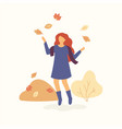 girl is jumping and throwing autumn leaves up and vector image vector image