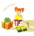 girl sitting happy birhday present box vector image vector image