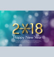 golden new year 2018 concept on cyan and violet vector image vector image