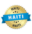 haiti round golden badge with blue ribbon vector image vector image