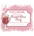 hand drawn mulled wine party invitation card vector image