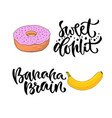 hand lettering sweet food with printable vector image vector image