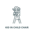 kid in child chair line icon linear vector image vector image