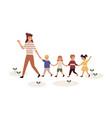 kindergartener with children flat vector image