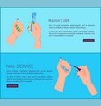 manicure and nail service internet promo page vector image vector image