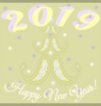 new year card with picture of stylish tree vector image