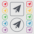 Paper airplane icon sign symbol on the Round and vector image