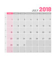 practical light-colored planner 2018 july flat vector image vector image