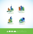 Real estate building 3d logo icon set vector image