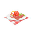 roasted sausages on plate vector image vector image