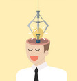 robotic claw stealing lightbulb idea from a head vector image vector image