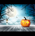 scary halloween background with pumpkin and moon vector image