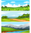 Scenes with trees and fields vector image vector image
