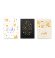 set easter decorative invitation festive vector image