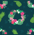 tropical orchid hibiscus flowers wreath pattern vector image vector image