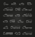 trucks cars machines line icons of set vector image