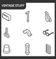vintage stuff outline isometric icons vector image vector image