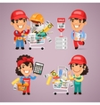 Workers Purchases Materials in DIY for Repair of vector image vector image