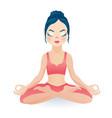 meditating yoga girl sitting in lotus pose vector image