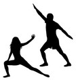 silhouettes of man and woman practicing yoga vector image