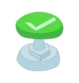 Green button with check mark icon cartoon style vector image
