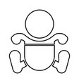 toddler boy with diapers black icon vector image