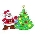 Santa decorating Christmas tree vector image