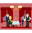 Young romantic couple date in restaurant vector image
