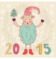 2015 card with happy sheep and Christmas tree vector image