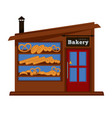 bakery shop booth facade building of bread vendor vector image vector image