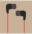 black and red earphones flat icon vector image