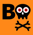 boo text happy halloween skull with bone vector image vector image